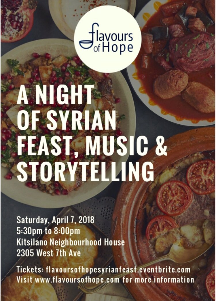 Flavours of Hope's Pop-Up Night of Syrian Feast, Music and Storytelling