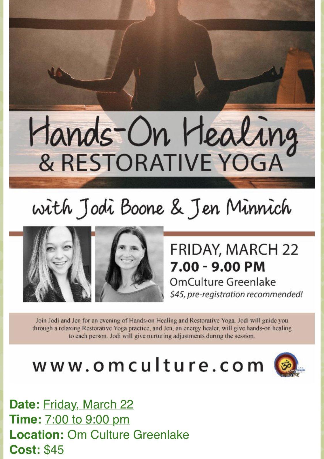 Hands-On Healing & Restorative Yoga with Jodi Boone & Jenn Minnich